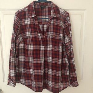 Torrid V Neck Cotton Flannel Shirt